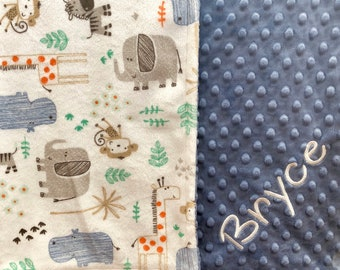 Personalized Baby Blanket / Minky Baby Blanket / Jungle Animals Blanket/ Custom Baby Blanket / Minky Blanket / Newborn Blanket with Name