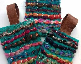 fiber art keyrings. textile, creative art.