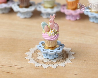 "MTO-Easter ""Showstopper Cupcake (L) - Pink Rabbit, Pink Cream - Miniature Food in 12th Scale"