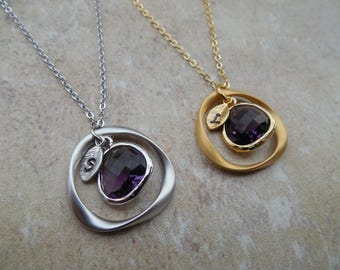Gold or Silver February Amethyst Birthstone necklace with Initial Leaf, Twisted Circle, Jewel, Available in all Birthstones, Birthday Gift