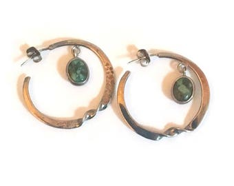 Vintage Hammered Silver Hoop Earrings with a Twist and Howlite Dangle Boho
