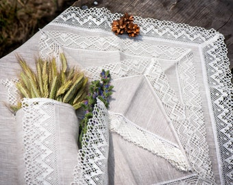 Gift set of linen products for daily life or celebrations - 6 linen napkins, 2 linen towels, 1 linen tablecloth with white crochet lace trim