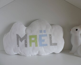 White name cloud pillow personalized