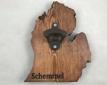 Michigan Wood Cut-out Bottle Opener - Personalized - engraved- custom- Wall Mount - Handmade!