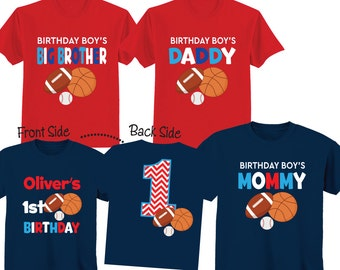 Sports Family Birthday Shirts Sports  1st Birthday Tshirts for any Age or Birthday on NAVY and RED shirts