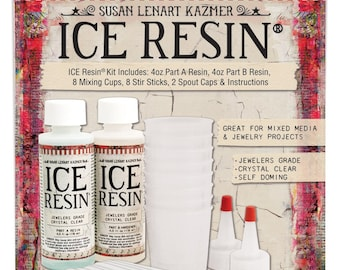 Ice Resin 8oz Kit, Self Doming Resin, Jeweler Grade, 8 oz Resin, No UV lamp needed, Casting Epoxy, Crystal Clear, Handcraft Resin Jewelry