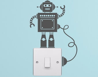 Tiny Robot Light Switch with Wire Decal Vinyl Wall Stickers