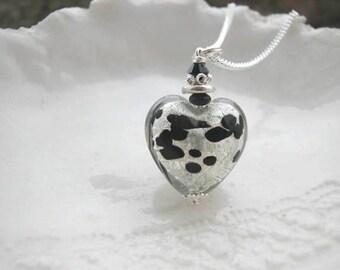 Silver Murano Glass Heart Necklace
