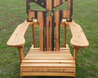 Adirondack chair, custom cedar Punisher skull
