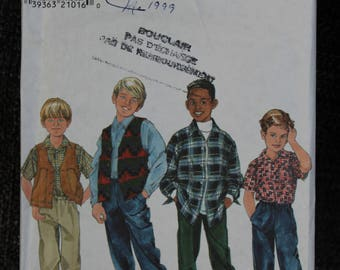 Simplicity 7886 sewing pattern, Boy's Shirt, Vest and Pants Size 5-6-7-8