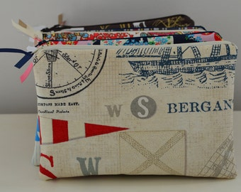 Zipper Pouch in Maritime - cosmetic bag travel case diaper bag organizer medium nautical boat sea ipad mini kindle toiletry gift set