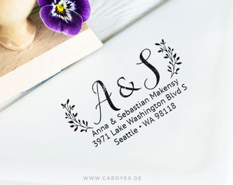 Return Address Stamp • Couples Address Stamp • DIY wedding • Wooden Address Stamp • Custom Address Rubber Stamp