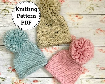 Pattern   Knitting Pattern   Chunky Knit Hat   Newborn/Baby/Toddler   Ava   Instant Download