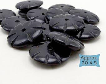 Large Black Horn Disk Spacers—10 Pcs   36-H1500B-10