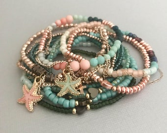 Seashell Rose Gold Bracelets, Barnacle Rose Gold Bracelet 12 Stack, Rose Gold Jewelry, Gifts for Her, Summer Jewelry