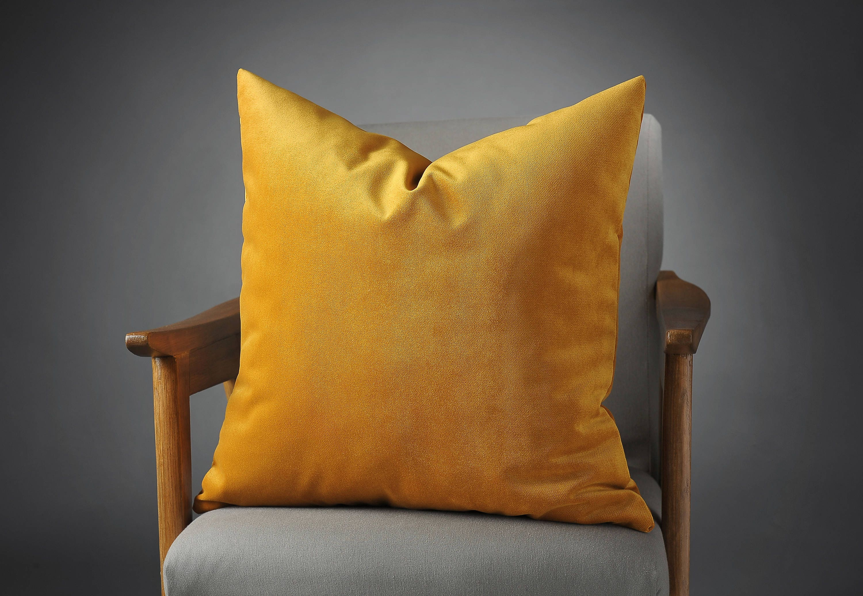 Mustard Pillow Mustard Cushion Mustard Velvet Bed Pillow