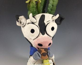 Cookie Cow // Succulent Pot // Animal Planter // Handmade // Ceramic // Pottery // Unique // Black and White // Small // Home Decor // Cute