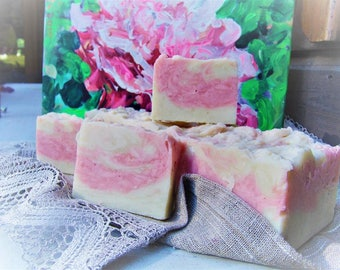 Peony Soap Bar with Peony oil, Pink Rose Goat milk soap - with shea butter