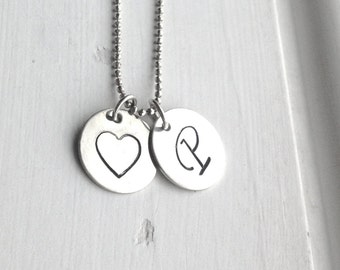 Large Initial Necklace, Hand Stamped Initial Necklace, P Initial Necklace, Letter P Necklace, Heart Necklace, Charm Necklace,Sterling Silver