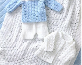 Baby Knitting PATTERN - Jacket, Shawl, Sweater and Shorts - Prem sizes - 12- 18 ins