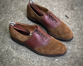 USA Made Saddle shoes - 11 D (regular) by Cole Haan - pebbled whiskey leather saddle on caramel suede - leather midsole - vibram soles