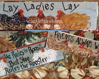 CHEEPER by the Dozen Chickens Signs set #5 (12) variety of Multi colored hens
