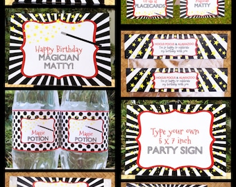 Magic Party Invitations & Decorations - full Printable Package - INSTANT DOWNLOAD with EDITABLE text - you personalize at home