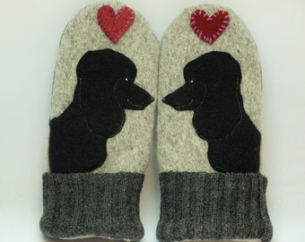 Poodle Mittens Wool Sweater Mittens Black Grey and  Red Poodle Applique and Leather Palm Fleece Lining Eco Friendly Upcycled  Size S/M