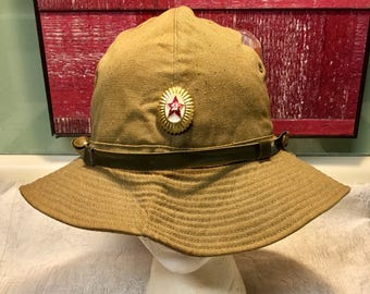 Russian Military Hat with Russian Pin, Russian Buttons, Soviet Army Hat, Military Memorabilia, Cyrillic Script Inside