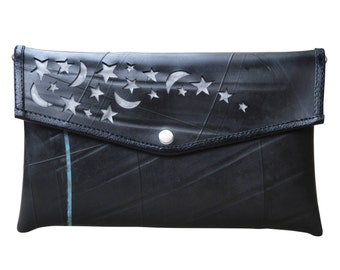 Envelop clutch using inner tube - FREE SHIPPING - gift for vegans, naveh milo, upcycling by milo, black upcycled evening purse