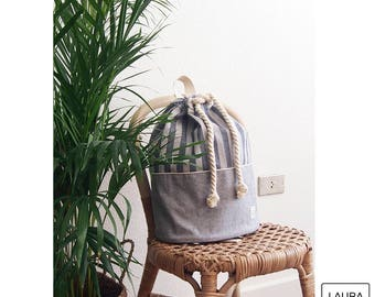 cotton backpack. canvas striped and smooth canvas. color blue and raw. unisex backpack. Multipurpose backpack.