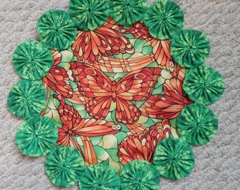 Stained Glass Butterfly Green and Orange Doily