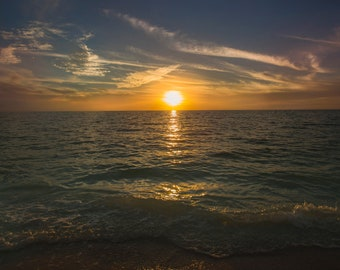 ALUMINUM METAL Photography Print of a Sunset Over the Ocean in Naples Florida
