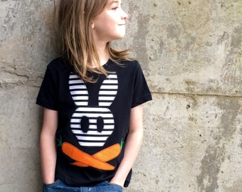 Easter Shirt or Baby Bodysuit for Boys or Girls - Modern Bunny Skull and Carrot Crossbones - Big Kid, Toddler and Infant Sizes - Great Gift