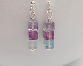 Gemstone Drop Earrings, Fluorite Earrings, Multicolour Fluorite Jewellery, Purple Green Pink Earrings, Gemstone Jewelry, Gift For Her