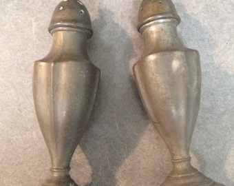 Vintage Pewter Salt And Pepper Shakers For Show