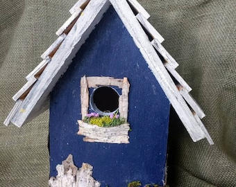 Rustic Navy birdhouse with your choice of roof style. Handmade in Michigan, outdoor protectant, and easy clean and hanging.