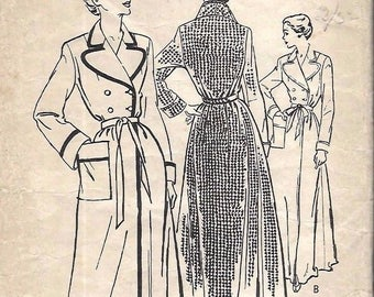 Vintage 1950's Tailored Double Breasted Robe Dressing Gown Large Lapels Sewing Pattern B 36""