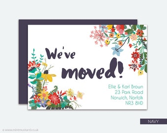 Change of Address Printable Card | Wild Flowers | Moving Announcement | New Address Card | New Home | Housewarming Invitation | A6 Cards