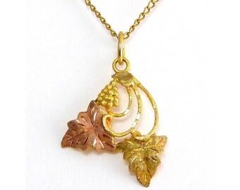 10K Yellow & Rose Black Hills Gold Grapes with Leaves Pendant, G.F. Necklace Chain