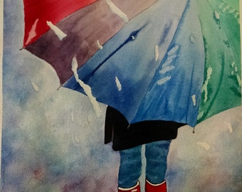 SALE Rainy Day Umbrella Watercolor Painting