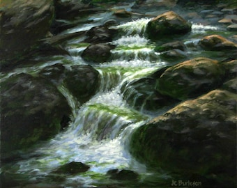 Charming Verdent Stream   Original Painting By Texas Artist JC Burleson, Home Decor,  Wall Decor
