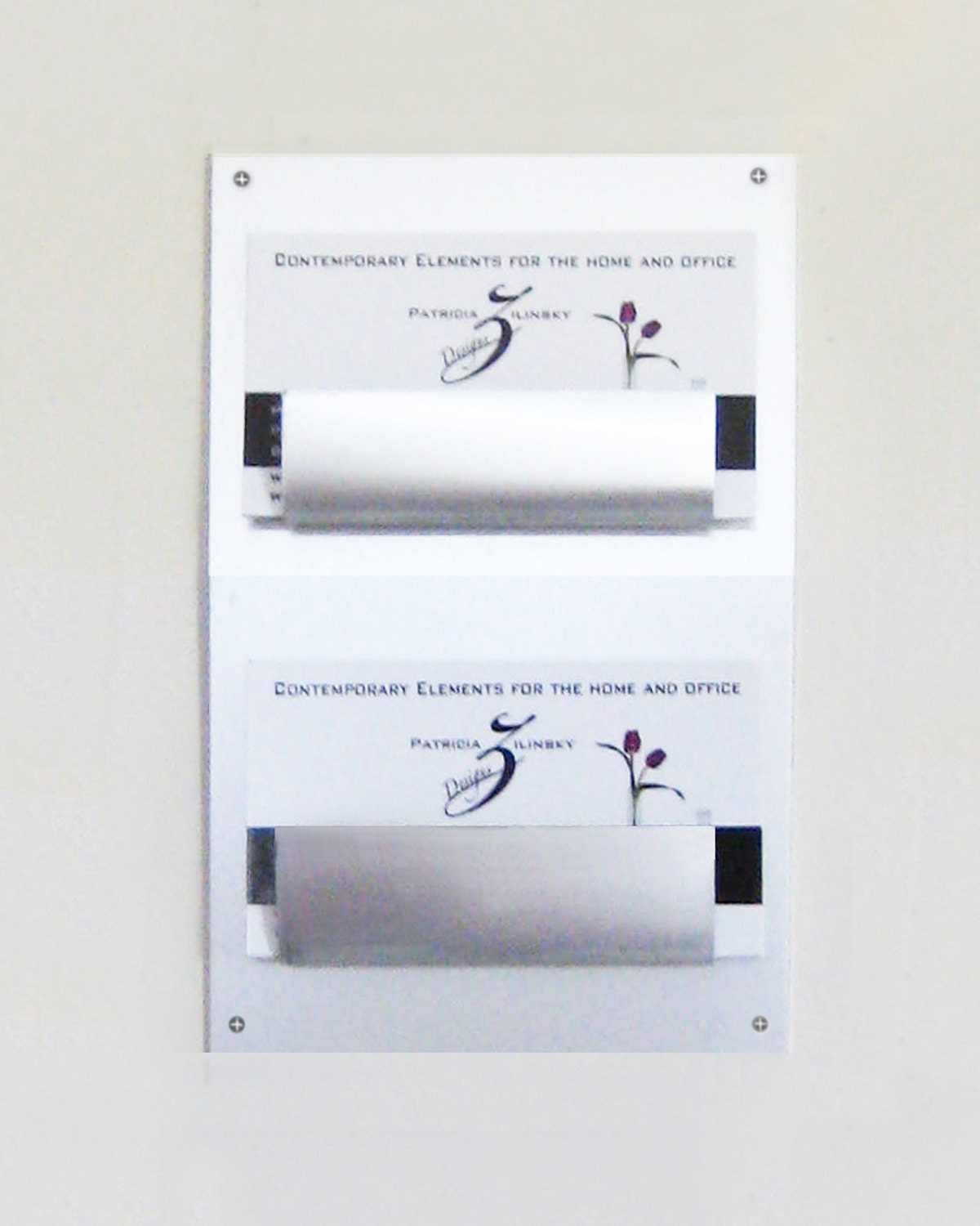 Wall Mount Two Pocket Business Card Holder