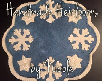 """OOAK Buttermilk Basin's """"February"""" candle mat completed 100% wool"""