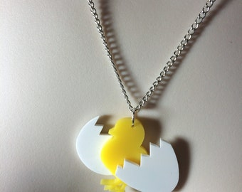 laser cut Acrylic 'hatching chick' Spring / Easter necklace