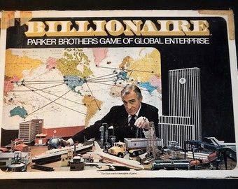 Vintage Billionaire Board Game by Parker Brothers - #43, 1973,family game night,all ages,2-4 players,fun,game of global enterprise, profit