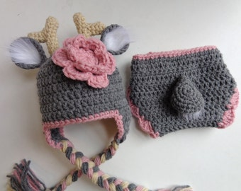 Newborn Crochet Deer Hat and Diaper Cover- Made to Order- Photo prop- gray and pink- Baby Boy Baby Girl