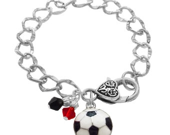 Personalized Soccer Bracelet, Team Color, Swarovski Bracelet, Soccer Mom Bracelet, Soccer Jewelry, Soccer Charm, Soccer Gift,(Made to Order)