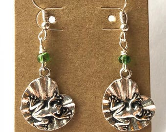 Frog on Lilly Pad Earrings