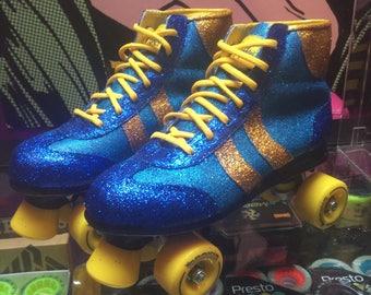 Custom Blue & Yellow Retro Glitter Quad Roller Skates
